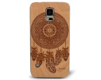 Laser Engraved Native American Aztec Dreamcatcher Mandala Paisley feather on Genuine Wood phone Case for Galaxy S5, S6 and S6Edge S-031