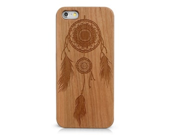 Laser Engraved Native American Aztec Mandala Dream Catcher on  Genuine Wood Cell phone Case for Apple iPhone  IP-063