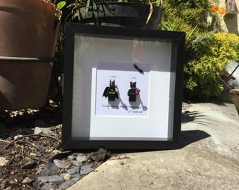 Batman & Catwoman Personalised lego replica frame, Superhero DC fan gift for a couple, engagement wedding, anniversary Valentine's Day gift