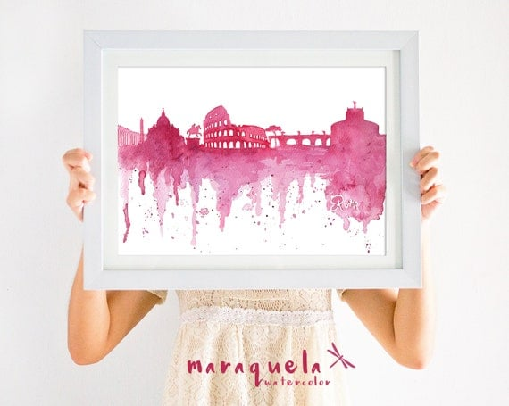 ROME Skyline illustration Italy red watercolor, skyliner art print, poster gift ROMA, decoration Rome souvenir trip, wallart print love art