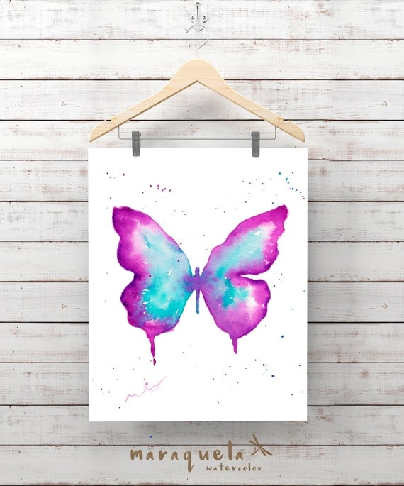 BUTTERFLY Illustration Watercolor - Art wall, original painting living- room, home decor, poster print wall room ideas gift baby, girl woman