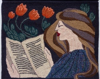 PATTERN OR KIT for Rug Hooking - Woman Reading