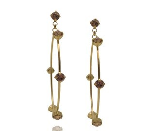 Jewelry Gift Swarovski Crystal Earrings Dangle Earrings Hoop Earrings Everyday Earrings Gold Earrings Swarovski Earrings Bridesmaid Gift