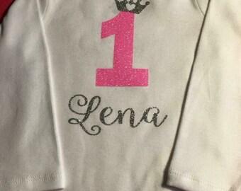 Personalized baby girl first birthday Princess bodysuit.