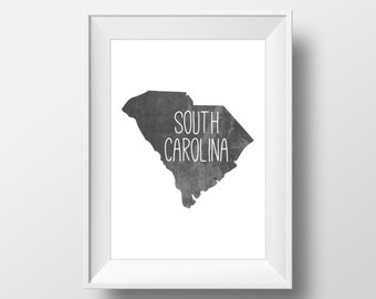 South Carolina State Black Chalkboard Printable Art, South Carolina Print, South Carolina Art, Modern Art,
