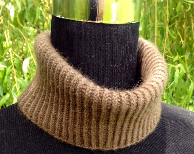 Cashmere spring mini snood / collar in taupe by Willow Luxury
