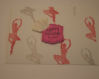 Birthday Girl Card, Pretty in Pink Birthday Card, Girls Birthday, Female Birthday, Birthday Dancing Girl, Ballerina Queen Birthday