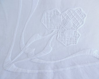 Hand embroidered tablecloth, table cloth, crewelwork embroidery, Art nouveau whitework
