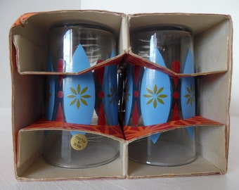 Mid century glass drinking glasses, set of six / tumblers / lemonade glasses - Immaculate, boxed and unused. Atomic / mod