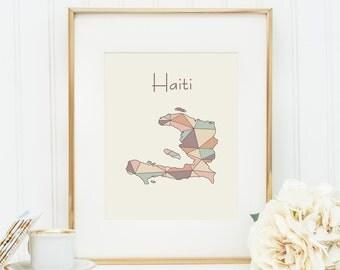 Haiti map, Haiti art, Haiti print, Haiti poster, Haiti wall art, Haiti, geometric art, nursery decor, nursery art, baby art, pastel art