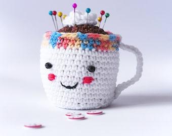 Cute Little Crochet Pin Cushion. Coffee Cup Crochet. Pincushion Cup. Pincushion