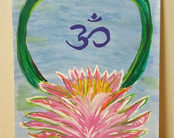 Om Painting - Lotus Flower Painting - Original Painting - Meditation Painting - Meditation Art - Original Painting - Yoga Studio Art