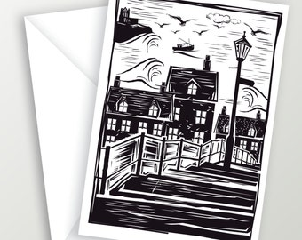 Whitby 199 steps Greetings Card