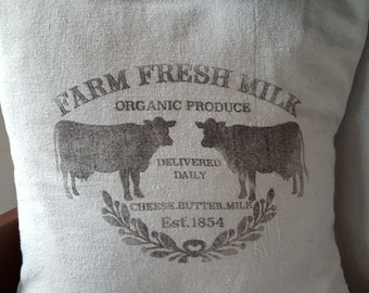 Grain sack inspired pillow cover-Farm Fresh