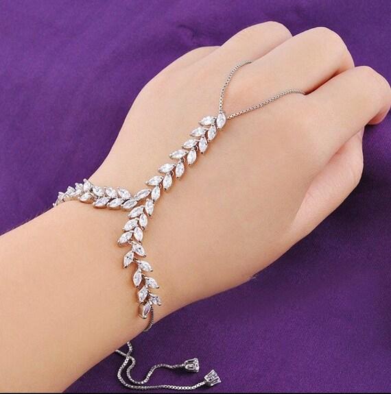 Ring Bracelet Chain: Two Chain Hand Bracelet, Crystal Hand