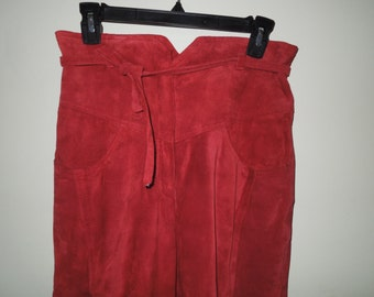 CJ Todd Neiman Marcus Paprika Short Suede Pants with Paperbag Waist Sz 7/8
