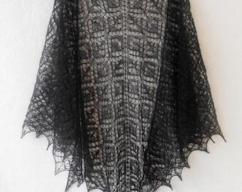Black Mohair Shawl. Hand Knit Lace Shawl. Free Shipping. Knit triangular shawl. Made To Order. Knitted Shawl