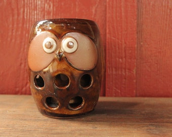 vintage Japanese owl // small porcelain owl planter // vintage brown ceramic owl pot // vintage Japanese pottery