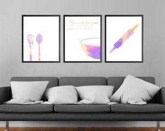 Cooking Watercolor Modern Art Prints Set of 3