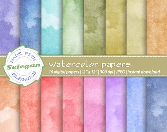 Watercolor Papers digital scrapbook paper, 12x12 printable pattern watercolour texture background download