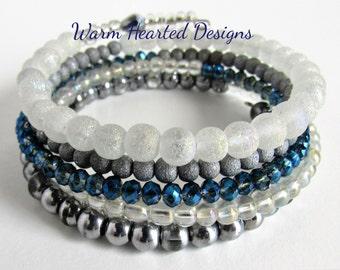 Boho Bracelet, Gypsy Boho Bracelet, Beaded Chuncky Bracelet, Blue Chunky Bracelet,Memeory Wire Bracelet, Blue Bracelet, Blue Beaded Bracelet
