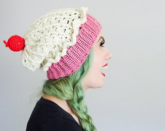Women's Cupcake Hat Slouchy Beanie