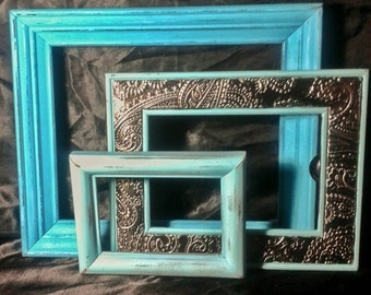 Shabby Chic Picture Frame Collection - Turquoise Picture Frame Set /Gallery Wall Frames