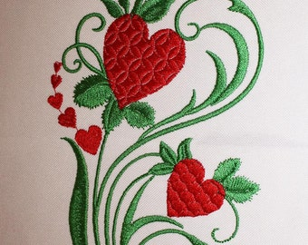 Heart flower Valentine's Day Machine embroidery design instant download