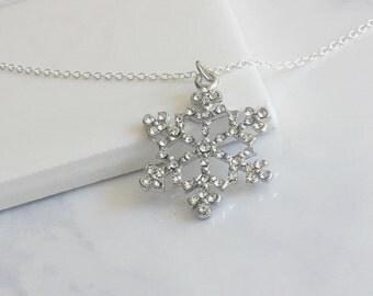 Silver Snow Flake Pendant Necklace, Crystal Snow Flake Pendant
