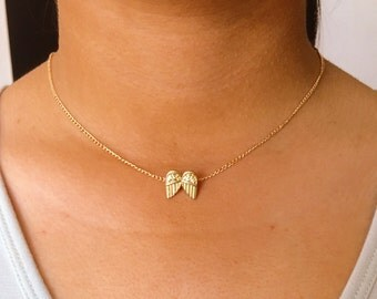 Tiny Angel Wing Necklace, Small Wings Pendant on a 14k Gold Filled Chain, Dainty & Spiritual