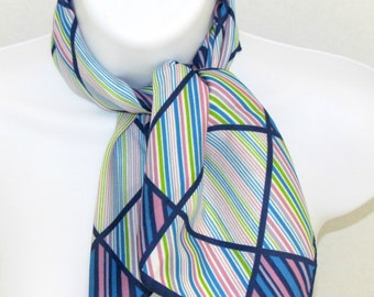 Vintage Glentex Square Scarf, Navy Blue Turquoise Lime Green Lavender Lilac White Color Blocks and Stripes, Fashion Accessory