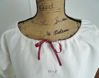 SALE - Antique FRENCH NIGHTDRESS, Vintage Linen Chemise, Overdress, Tunic Dress, Monogram M.F. 1900's.