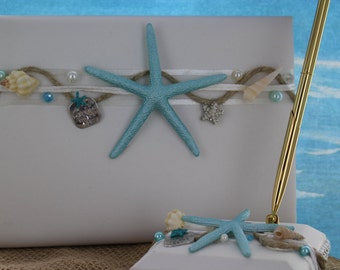 Beach Themed Guest Book and Pen Set/ Destination Wedding
