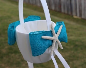 Beach Themed Flower Girl Basket with Starfish and Turquiose