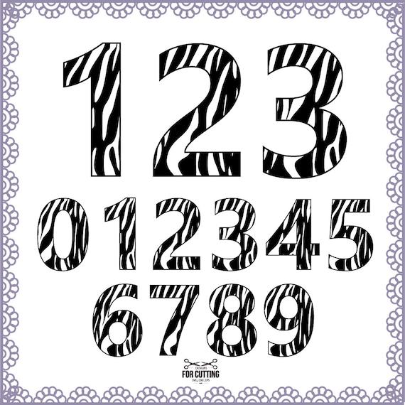 Zebra numbers Monogram Zebra font Cut Files Svg Eps Dxf. Zebra 0 Font