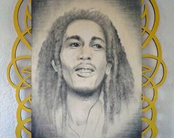 Bob Marley Portrait ~ Original Charcoal Art on Lasercut Wood