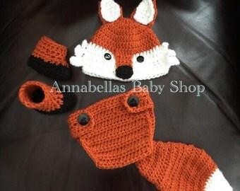 Crochet baby fox set