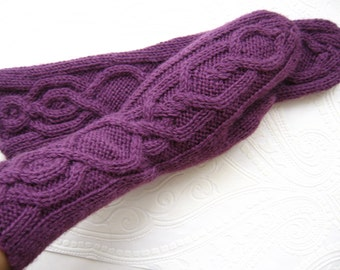 Knit women's long mittens Alpaca wool mix 40/60 - Alpaca /wool Hand knitted warm winter hand warmers mittens armwarmers gloves Gift for her!