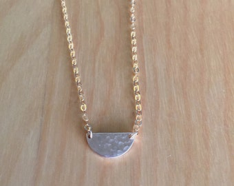 14K Gold Filled Necklace with 14K Gold Filled Hammered Half Crescent Moon Charm