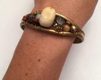 Handmade brass cuff bracelet with wire wrapped semi precious stones