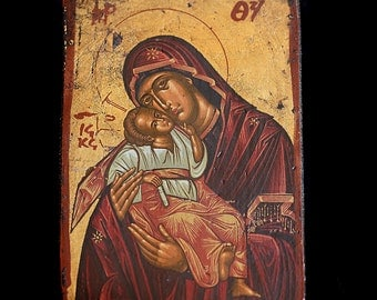 Vintage Copy of an old Byzantine Icon Virgin Mary with Jesus
