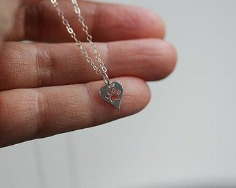 Tiny Silver Heart Paw print necklace - Sterling Silver bracelet paw print necklace - Dog paw print necklace - Dog Jewelry -Cat jewelry
