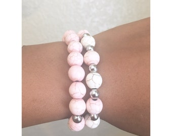 Women's pink bohemian elastic stretch band bracelet