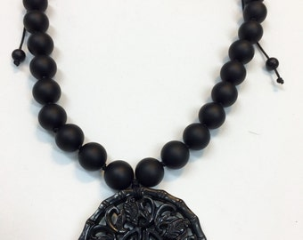 Matte Onyx with jade pendant necklace