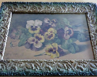 Patty Thum, Antique Victorian Framed Chromolithograph, 'Pansies'