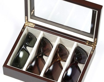 Eyeglasses/ Sunglasses Storage Wooden Case with glass top