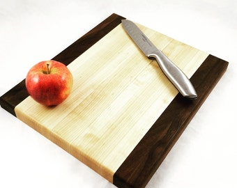 Wood Cutting Board - Cheese Board- Walnut & Maple Wood- Unisex Gift, Anniversary Gift, Cook Gift, Kitchen Decor, Bridesmaid Gift