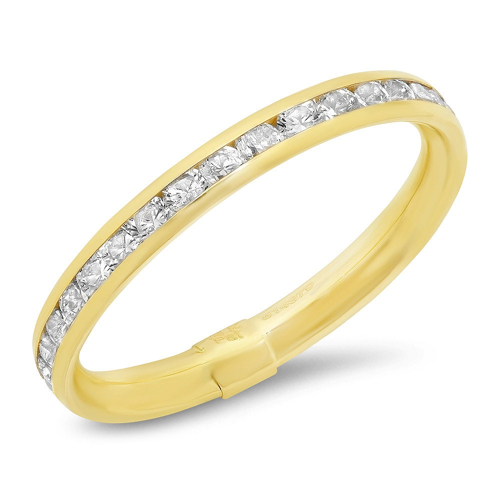 new 14k solid white yellow gold eternity wedding band ring