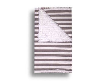 Burp Cloth <<Gray Stripes>> Baby/Toddler/drool//White
