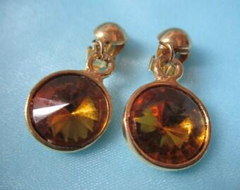 Vintage Gold Toned Amber Rhinestone Earrings